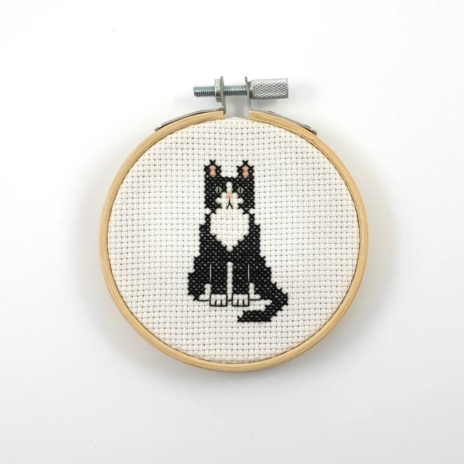 Tuxedo cat cross stitch pdf pattern