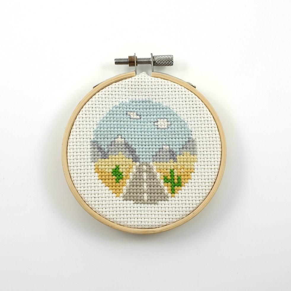 desert road cross stitch pdf pattern