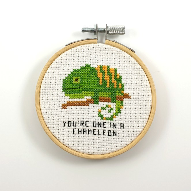 You're one in chameleon cross stitch pdf pattern