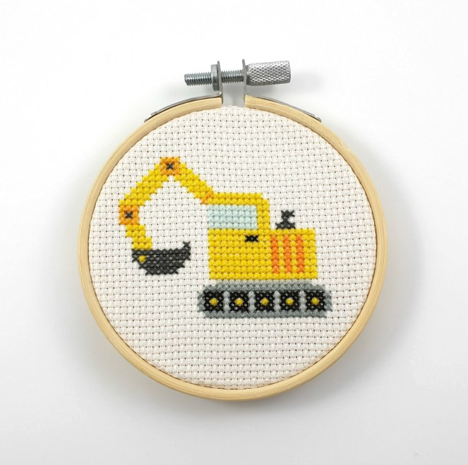 Excavator cross stitch pdf pattern