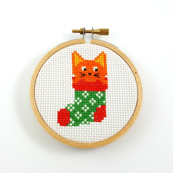 Cat in a Christmas stocking cross stitch pdf pattern