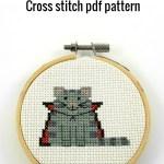 Dracula cat cross stitch pdf pattern