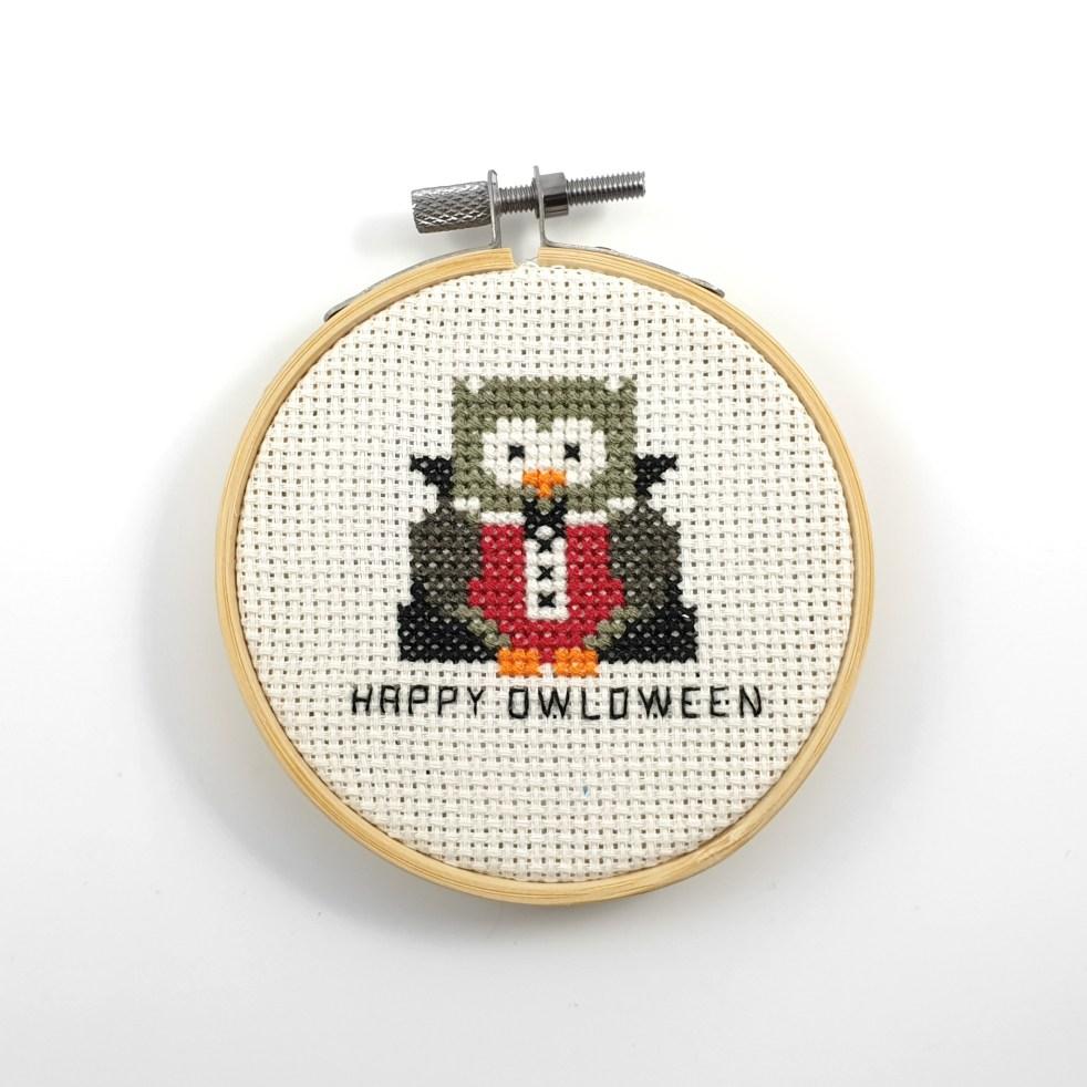 Happy owloween cross stitch pdf pattern