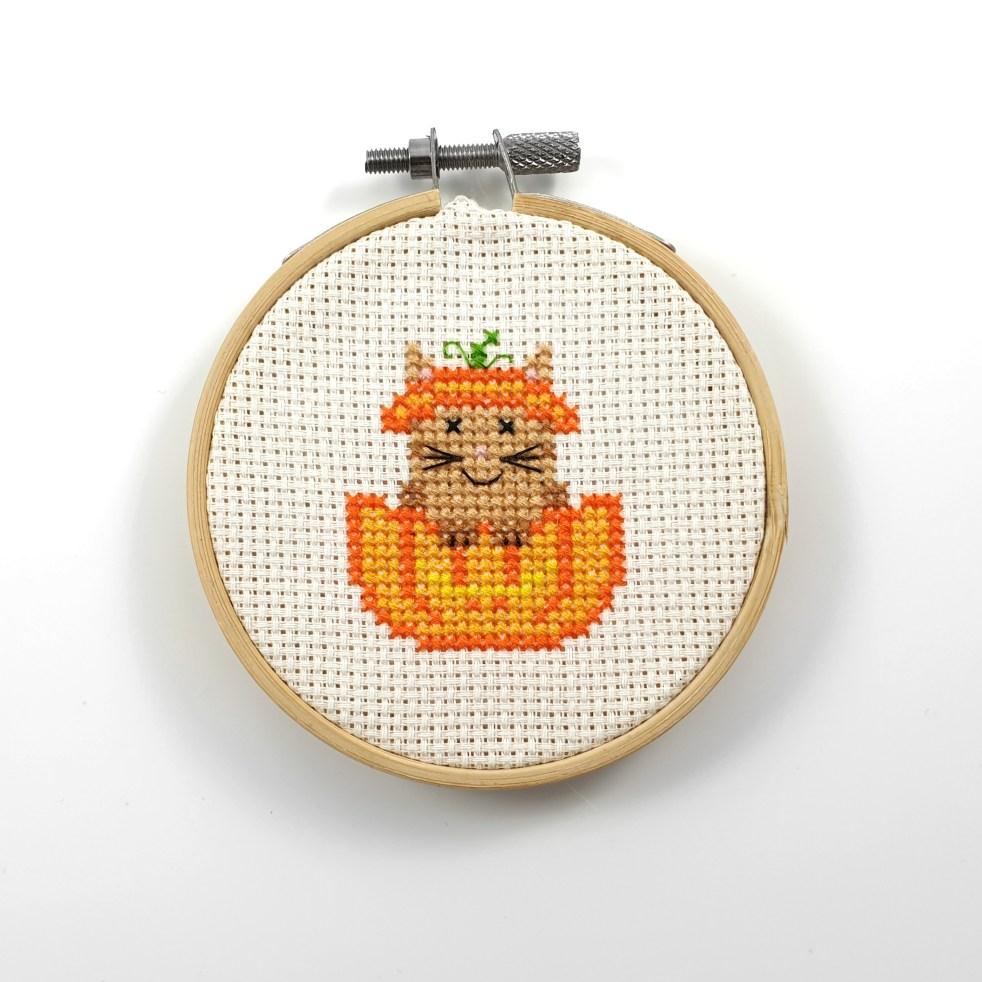 Cat in pumpkin cross stitch pdf pattern
