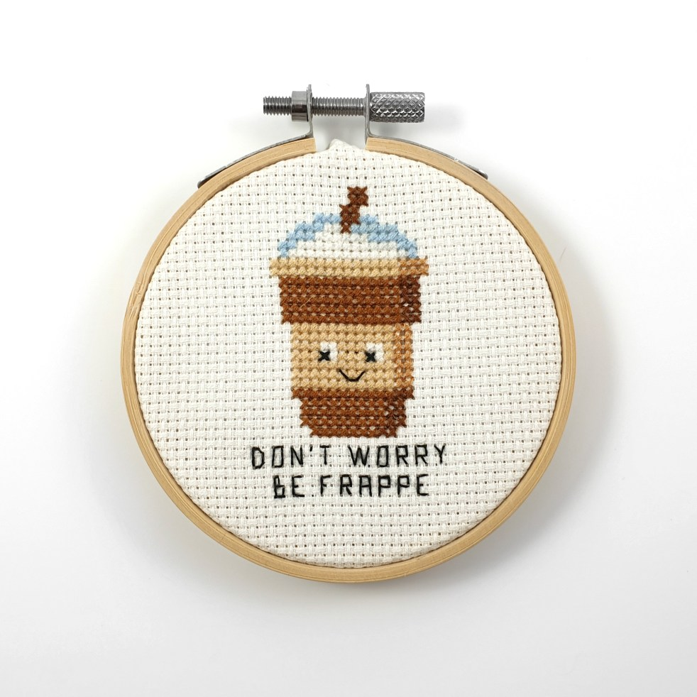Don't worry be frappe cross stitch pdf pattern