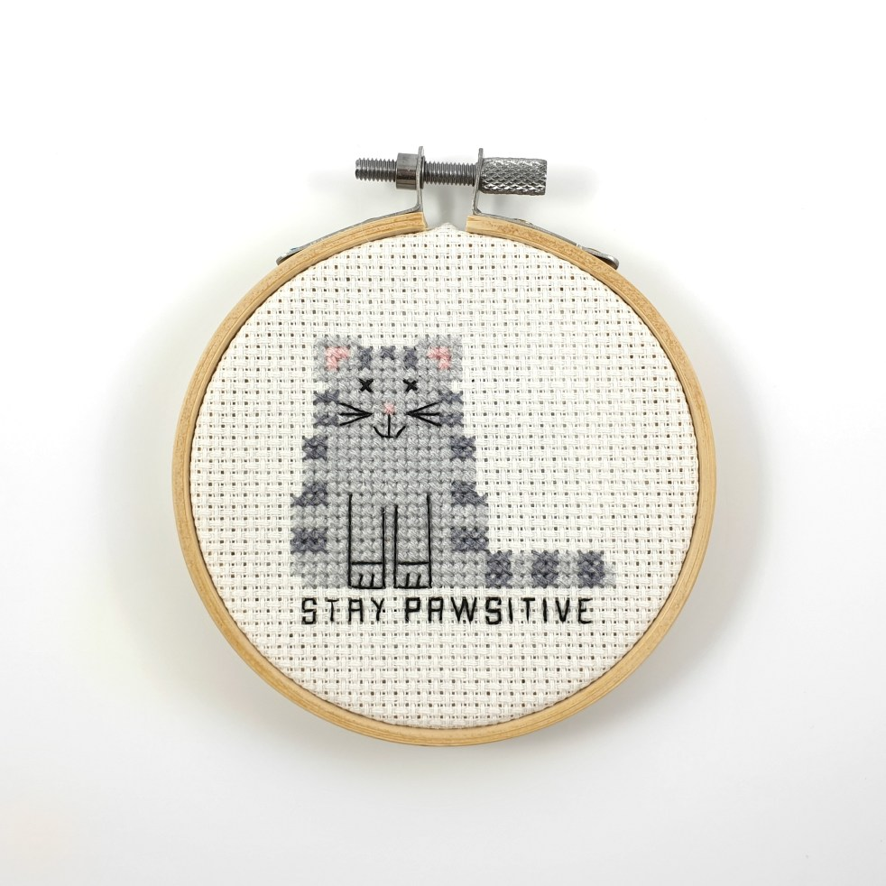 stay pawsitive cross stitch pattern