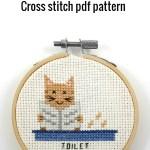 cat toilet door sign cross stitch pdf pattern