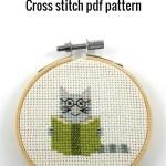 Cat reading a book cross stitch pdf pattern