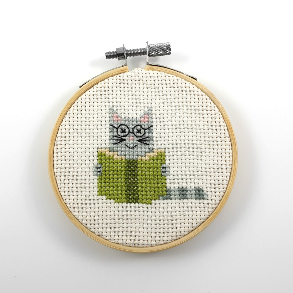Cat reading a book cross stitch pdf pattern