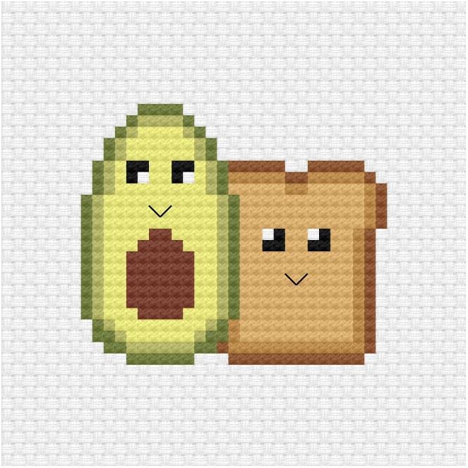 Avocado and toast cross stitch pdf pattern