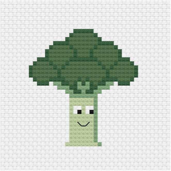 cute broccoli cross stitch pattern - Ringcat