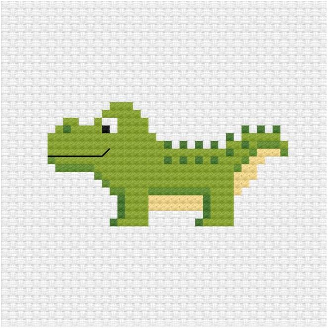 Alligator cross stitch pdf pattern