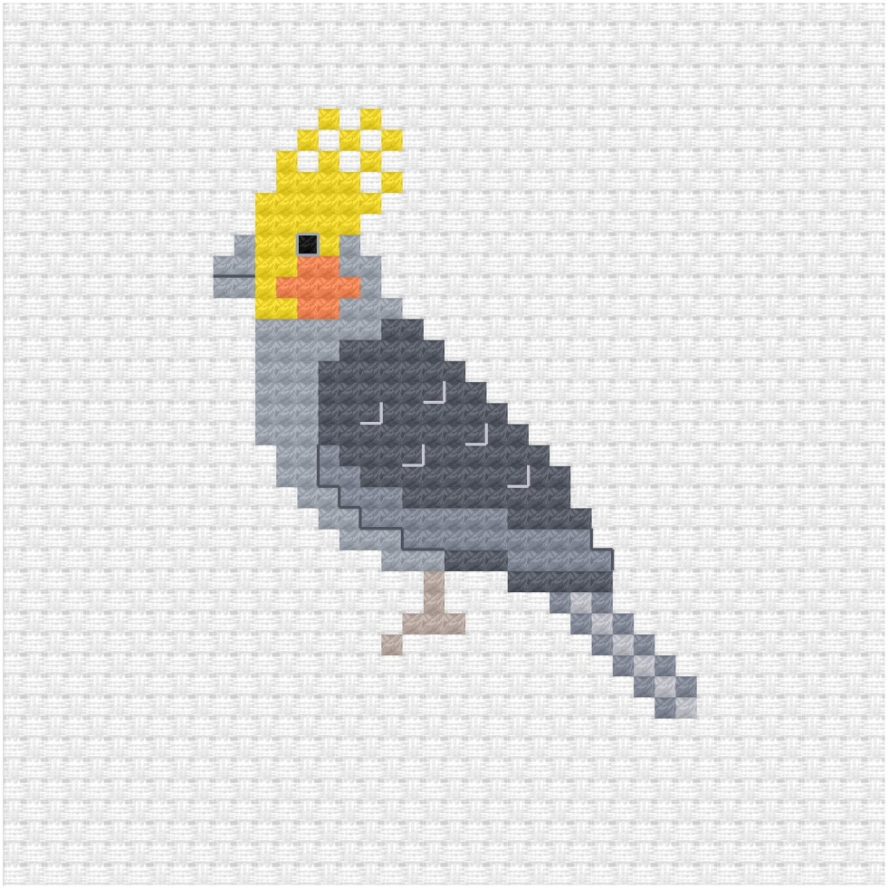 Cockatiel cross stitch pdf pattern