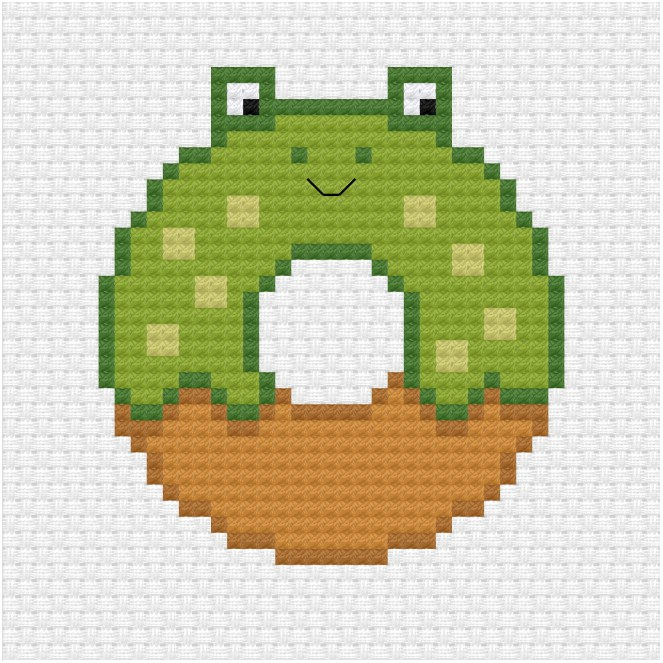 frog donut cross stitch pdf pattern - Ringcat