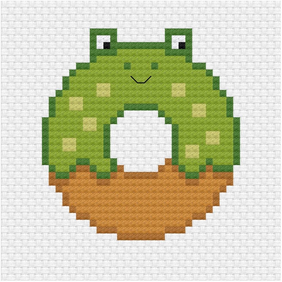 frog donut cross stitch pdf pattern