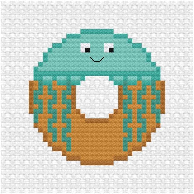 Jellyfish donut cross stitch pdf pattern - Ringcat