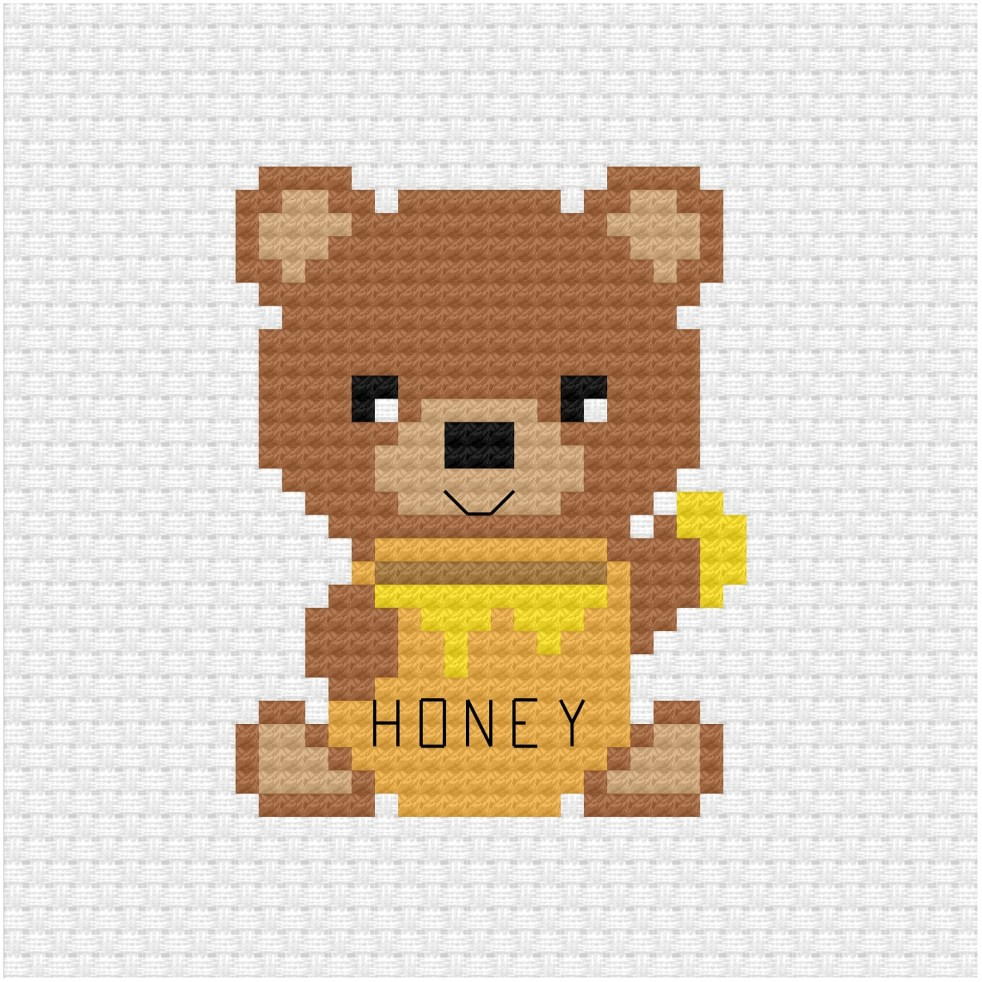 Honey bear cross stitch pdf pattern