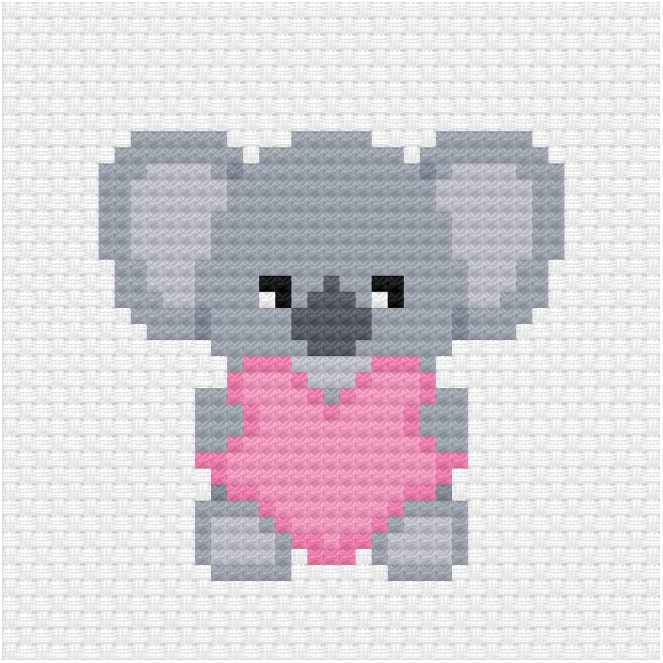 Free koala cross stitch pattern for fundraising for Australian wildfires