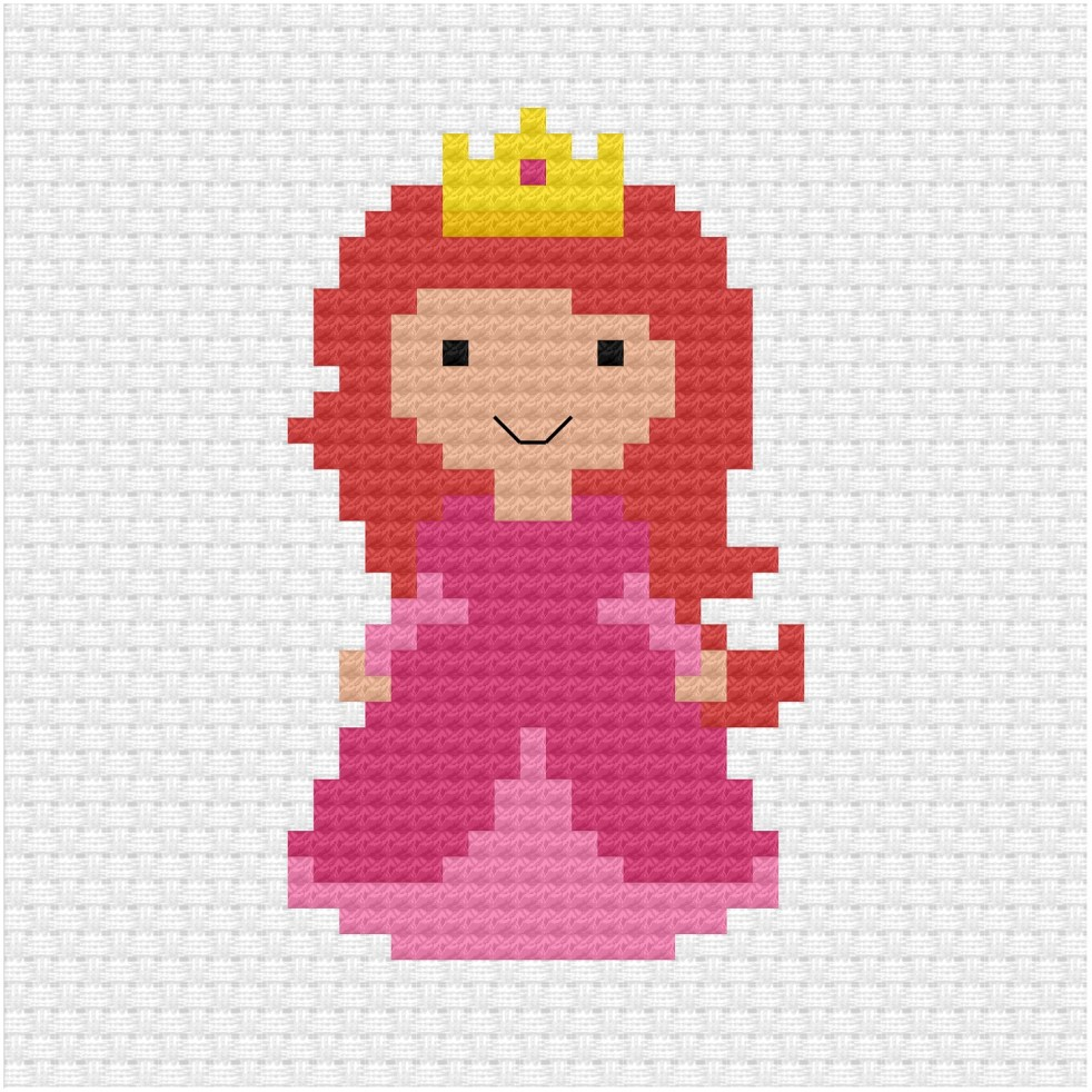 Pink princess cross stitch pdf pattern