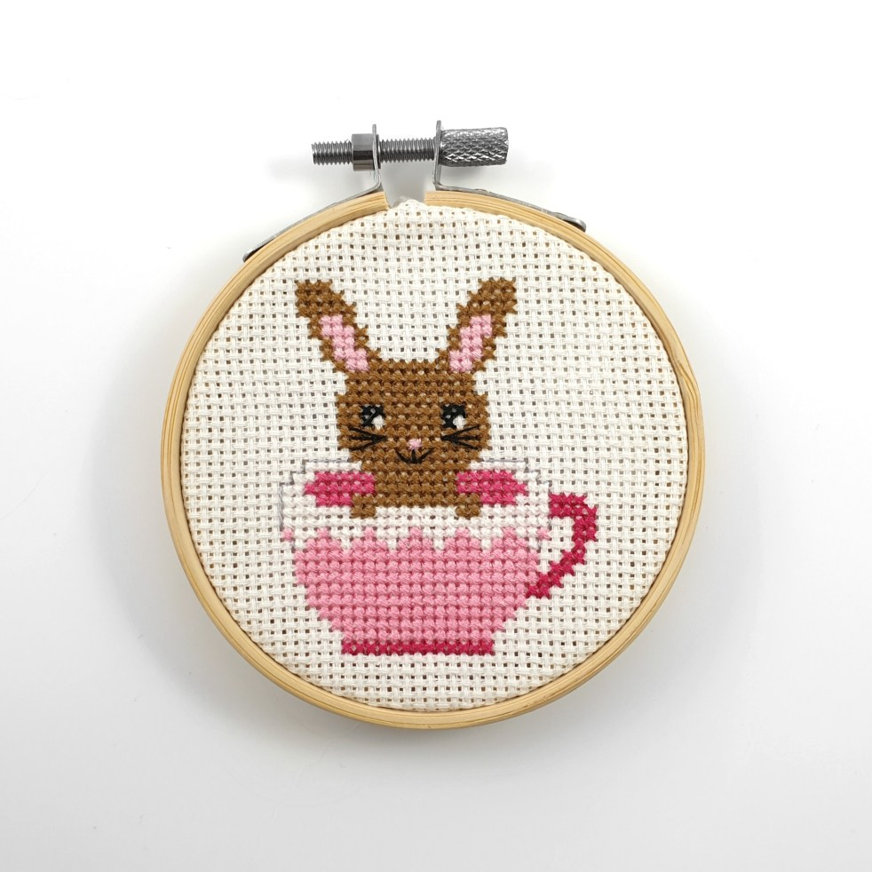 Bunny in a tea cup cross stitch pdf pattern