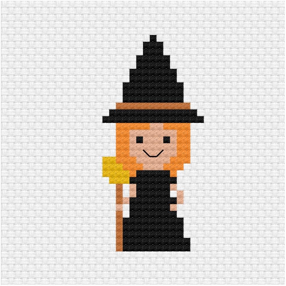 Halloween witch cross stitch pdf pattern