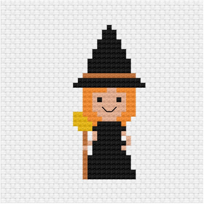 Halloween witch cross stitch pdf pattern