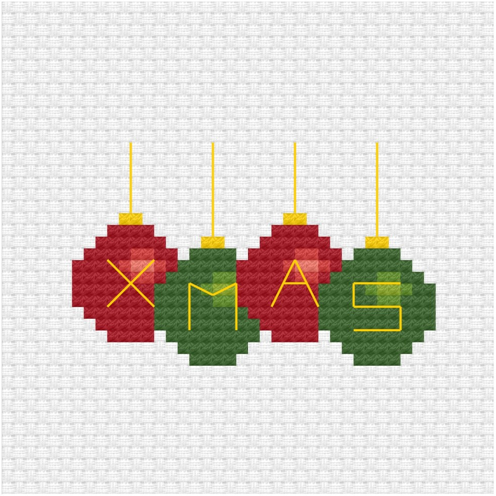 Christmas baubles cross stitch pdf pattern
