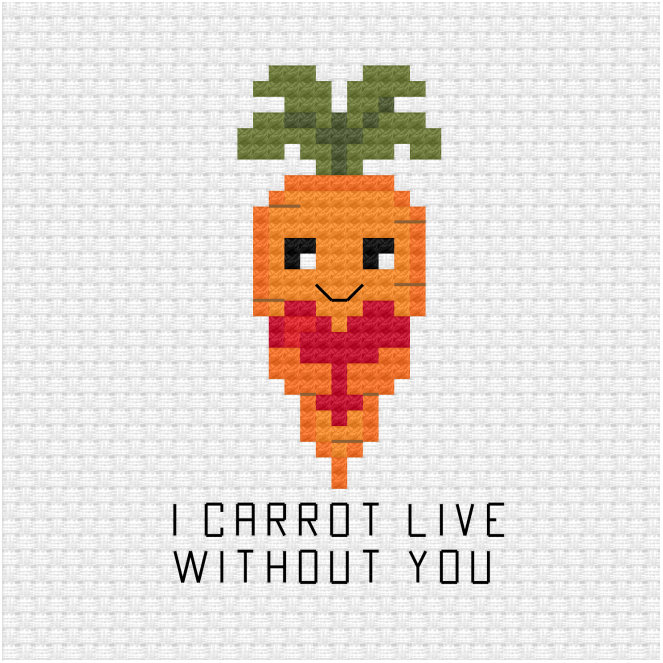 I carrot live without you cross stitch pdf pattern