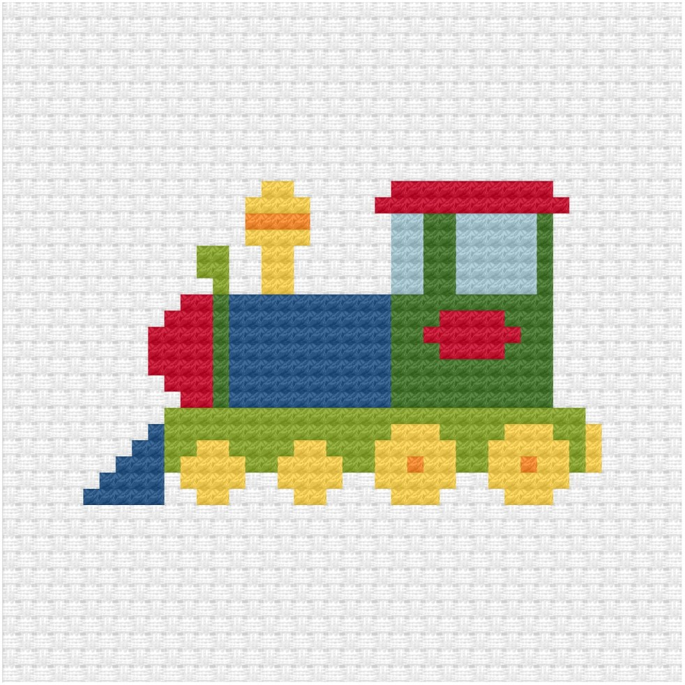 Toy locomotive cross stitch pdf pattern