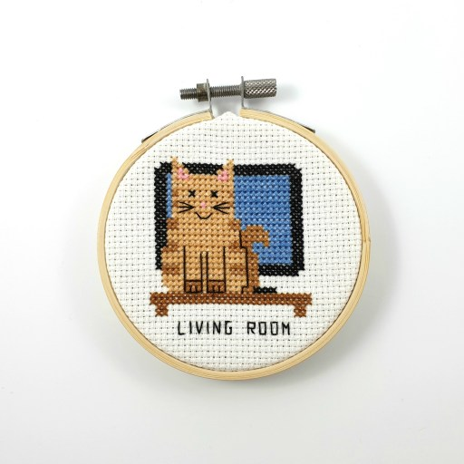Living room cat door sign cross stitch pdf pattern