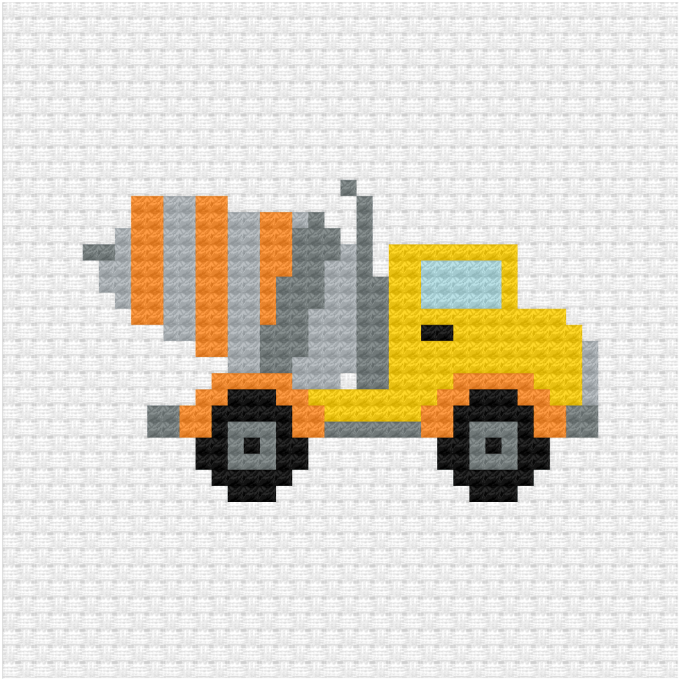Concrete mixer truck cross stitch pdf pattern