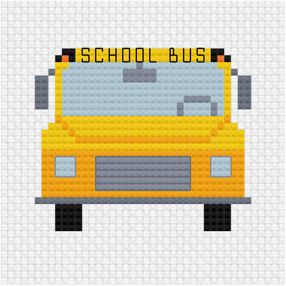School bus cross stitch pdf pattern -