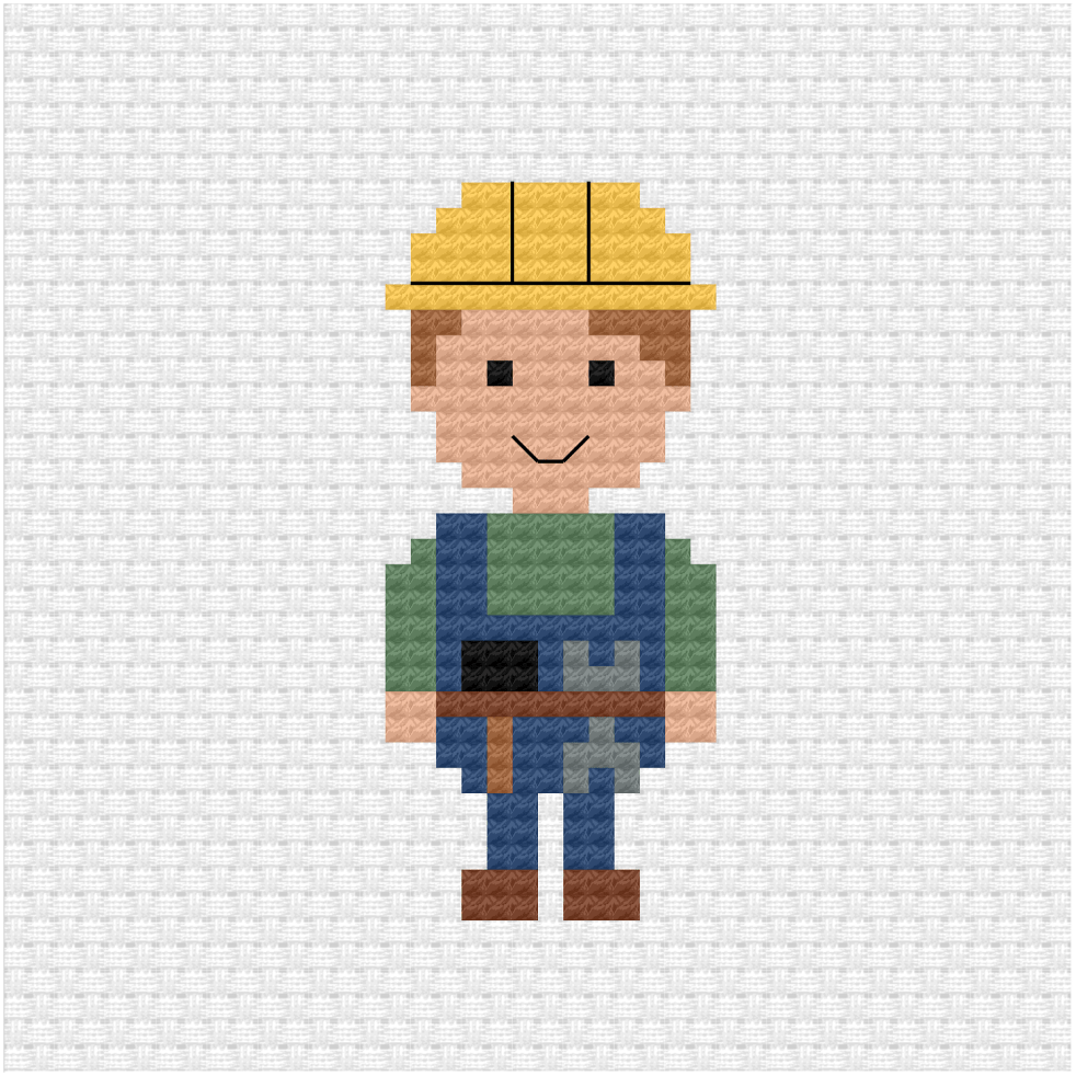 Construction worker cross stitch pdf pattern
