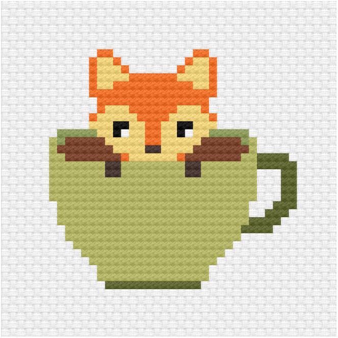 Fox in a teacup cross stitch pdf pattern