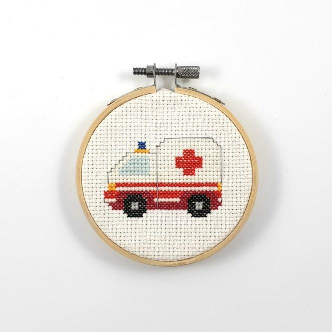 Ambulance cross stitch pdf pattern