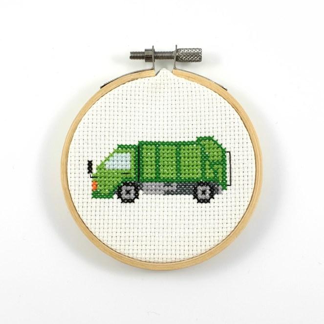 Garbage truck cross stitch pdf pattern