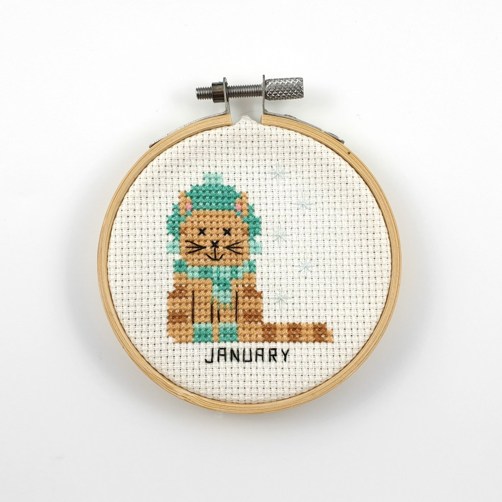 January cat cross stitch pattern
