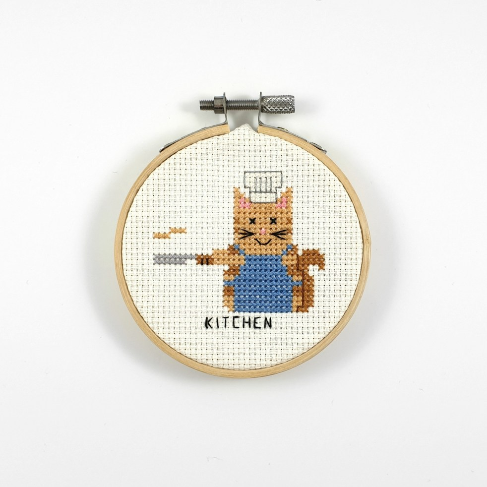 Kitchen cat cross stitch pdf pattern