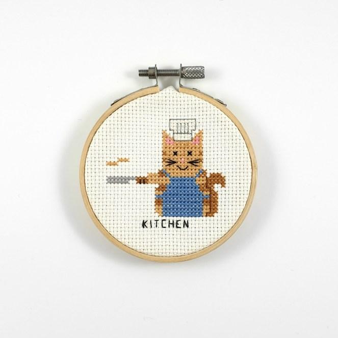 Kitchen cat cross stitch pdf pattern