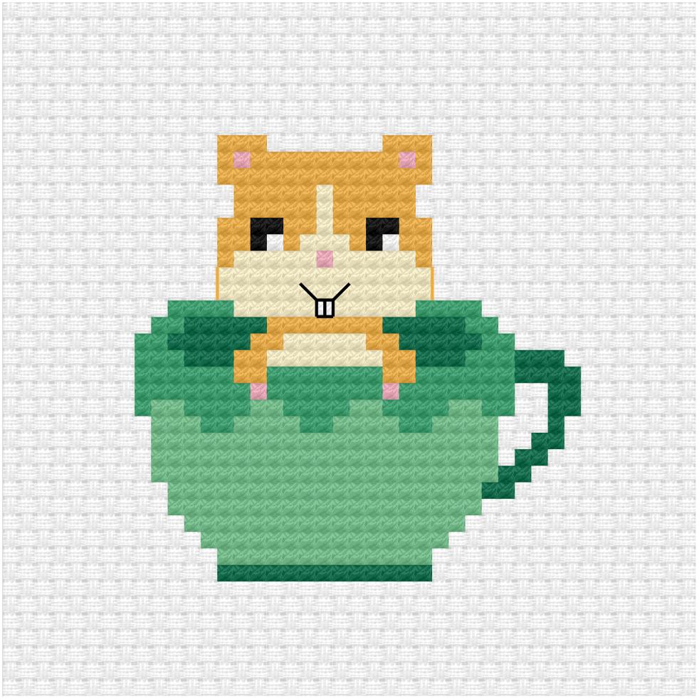 Hamster in tea cup cross stitch pattern