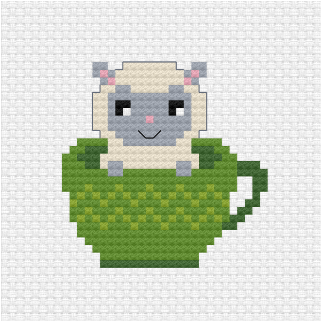 Sheep in a teacup cross stitch pdf pattern
