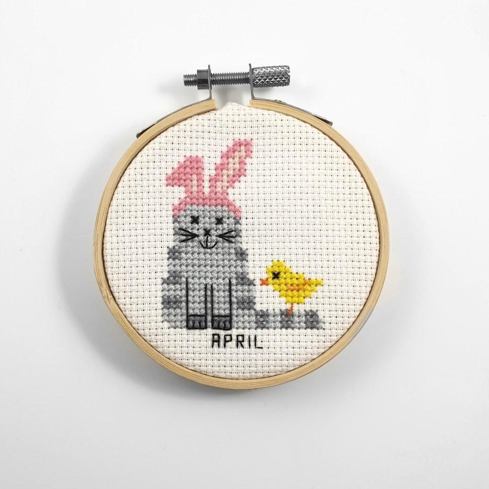 April cat cross stitch pdf pattern