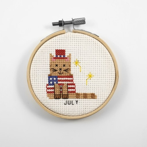 July cat cross stitch pdf pattern