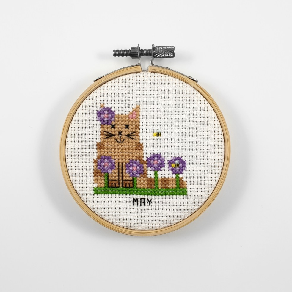 May cat cross stitch pdf pattern