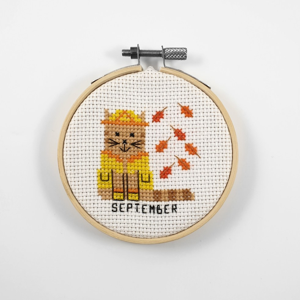 September cat cross stitch pdf pattern