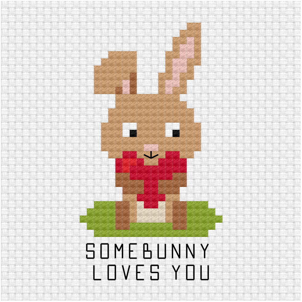 Somebunny loves you cross stitch pdf pattern