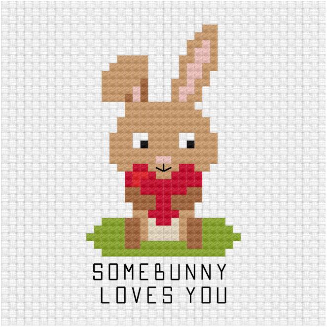 Somebunny loves you cross stitch pdf pattern