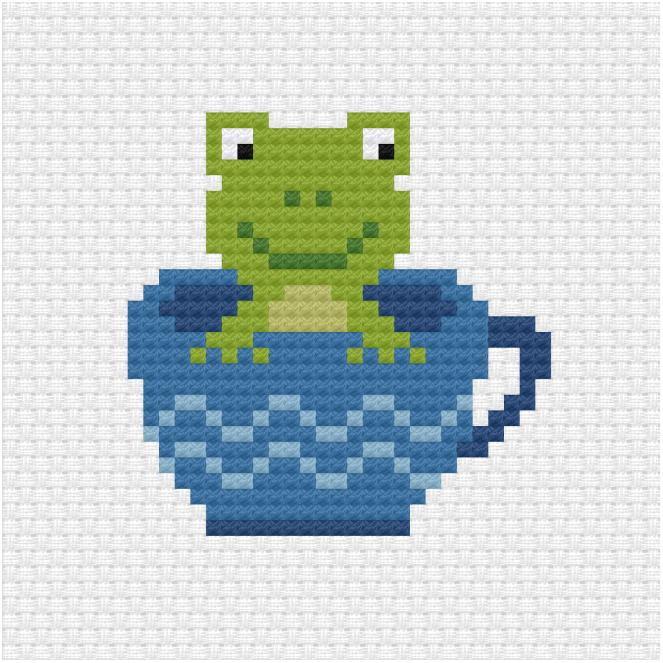 Frog in a tea cup cross stitch pdf pattern