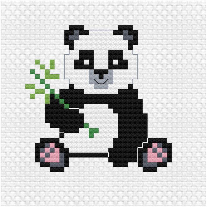 Panda cross stitch pdf pattern