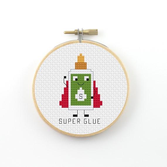 Super glue cross stitch pdf pattern